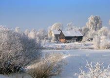 Exploração agrícola do inverno Imagem de Stock Royalty Free