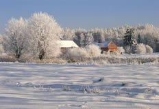Exploração agrícola do inverno imagens de stock