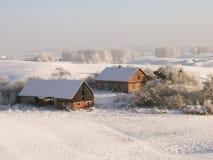 Exploração agrícola do inverno Foto de Stock
