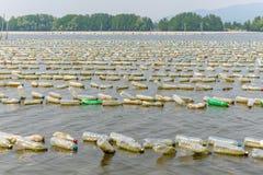 Exploração agrícola do marisco das garrafas plásticas velhas no mar em Chanthaburi, T foto de stock