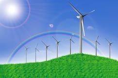 Exploração agrícola do moinho de vento na manhã Imagem de Stock
