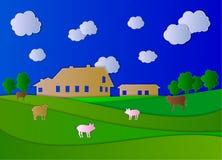 Exploração agrícola do vetor, paisagem de Agricultual, arte de papel colorida ilustração royalty free