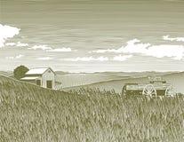 Exploração agrícola do vintage do Woodcut Foto de Stock