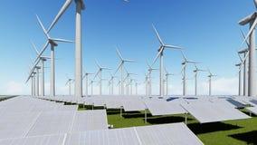 Exploração agrícola dos painéis solares e gerador de vento ilustração royalty free