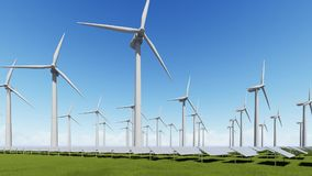 Exploração agrícola dos painéis solares e gerador de vento ilustração stock