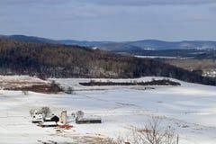 Exploração agrícola e campos nevados imagens de stock royalty free