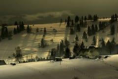 Exploração agrícola em um cume da montanha Fotografia de Stock