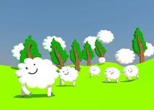 Exploração agrícola feliz dos carneiros Ilustração Stock