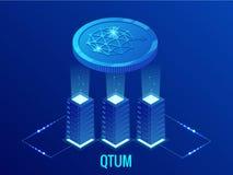 Exploração agrícola isométrica da mineração de QTUM Cryptocurrency Tecnologia de Blockchain, cryptocurrency e uma rede digital do ilustração stock