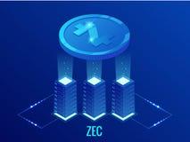 Exploração agrícola isométrica da mineração de ZCASH Cryptocurrency Tecnologia de Blockchain, cryptocurrency e uma rede digital d ilustração do vetor
