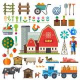 Exploração agrícola na vila Elementos para o jogo Foto de Stock Royalty Free