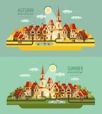 Exploração agrícola na vila Grupo de elementos - casa ilustração stock