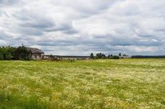 Exploração agrícola polonesa com prado ao redor Imagens de Stock Royalty Free
