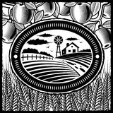 Exploração agrícola retro preto e branco ilustração royalty free