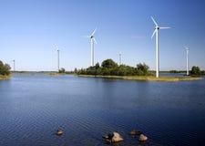 Exploração agrícola terrestre das energias eólicas Fotos de Stock