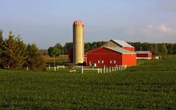 Exploração agrícola tradicional com silo Fotografia de Stock