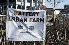 Exploração agrícola urbana da bateria, parque de bateria, Lower Manhattan, NY Fotografia de Stock