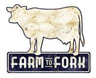 Exploração agrícola velha do sinal da vaca a bifurcar-se fotografia de stock