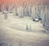 Exploração agrícola velha nas montanhas Carpathian Manhã colorida do inverno Fotos de Stock Royalty Free