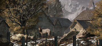 Exploração agrícola velha nos alpes suíços ilustração royalty free