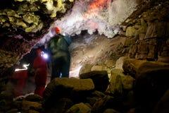 Exploração da caverna fotos de stock