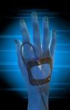 Exploração da mão dos pacientes Fotografia de Stock Royalty Free