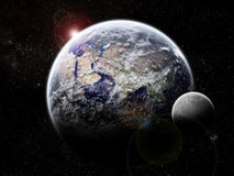 Exploração do universo - eclipse da lua na terra Fotos de Stock