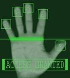 Exploración biométrica electrónica de la huella digital Fotografía de archivo libre de regalías