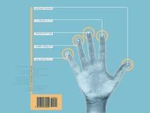 Exploración de la mano Imágenes de archivo libres de regalías