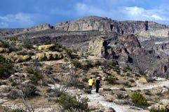 Exploración de las trayectorias de la montaña de la superstición en el empalme de Apache, Airzona Fotos de archivo