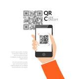 Exploración del código de QR con el teléfono móvil Código de la captura QR en el teléfono móvil Símbolo que explora código de QR  stock de ilustración