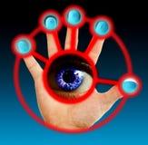 Exploración del dedo y del ojo Imagen de archivo