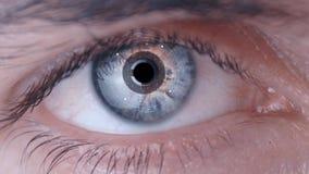 Exploración del ojo de ser humano del primer con el sistema de vigilancia Biotecnología futurista almacen de video