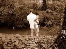Exploración del padre y del hijo Imagen de archivo libre de regalías