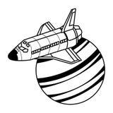 Exploración espacial e historieta de los planetas ilustración del vector