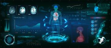 Exploración futurista del MRT en diseño del estilo de HUD ilustración del vector