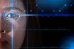 Exploración futurista del ojo y de la cara del concepto asiático de las mujeres, biométrico y de la identificación de la tecn libre illustration