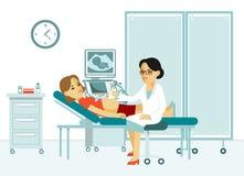 Exploración y diagnósticos del ultrasonido del concepto de la medicina en estilo plano en el fondo blanco stock de ilustración