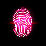 Exploración abstracta de la huella dactilar Letra P identificación y seguridad Imagen de archivo libre de regalías