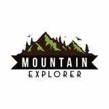 Explorador Adventure Badge Logo Vector Template de la montaña ilustración del vector