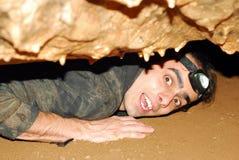 Explorador da caverna fotografia de stock
