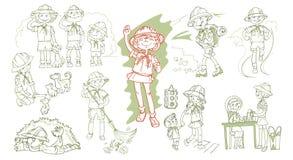Explorador dibujado mano Teenagers Set Imagenes de archivo