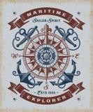 Explorador marítimo Typography del vintage foto de archivo libre de regalías