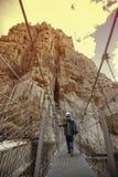 Explorador novo que cruza uma ponte em suas férias em uma montanha Imagens de Stock