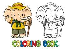 Explorador Pequeño elefante del bebé Libro de colorante ilustración del vector