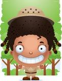 Explorador sonriente de la muchacha de la historieta ilustración del vector