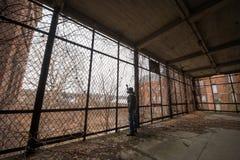 Explorador urbano que olha fora de uma gaiola imagens de stock