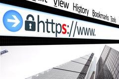 Explorador Web del vínculo de la conexión asegurada Fotografía de archivo
