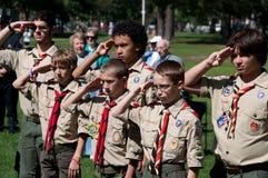 Exploradores de muchacho en la ceremonia de la conmemoración del 11 de septiembre Imagen de archivo