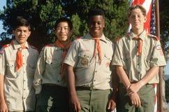 Exploradores de muchacho multiculturales Fotos de archivo